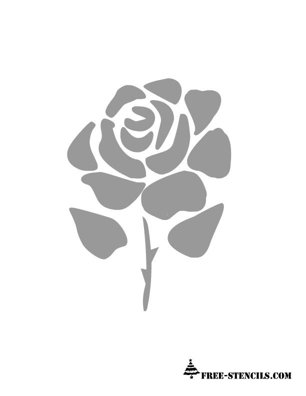 This is ano adorable rose stencil that even shows its thorns but still ...